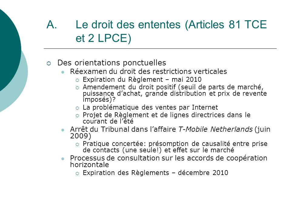 A. Le droit des ententes (Articles 81 TCE et 2 LPCE) Des orientations ponctuelles Réexamen du droit des restrictions verticales Expiration du Règlemen