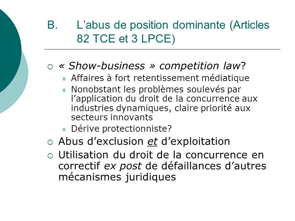 B. Labus de position dominante (Articles 82 TCE et 3 LPCE) « Show-business » competition law? Affaires à fort retentissement médiatique Nonobstant les