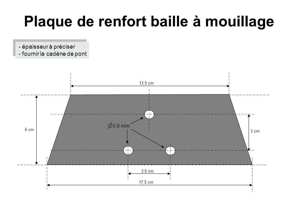 Plaque de renfort baille à mouillage 17,5 cm 6 cm 13,5 cm 3,6 cm 3 cm 0,9 mm - épaisseur à préciser - fournir la cadène de pont - épaisseur à préciser