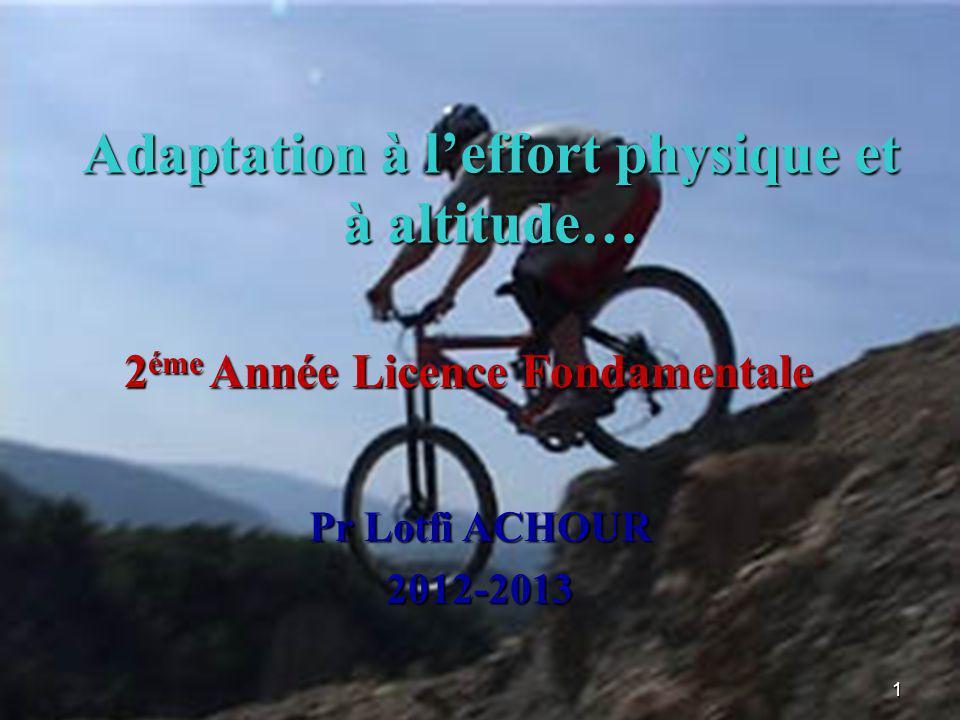 Adaptation à leffort physique et à altitude… 1 Pr Lotfi ACHOUR 2012-2013 2 éme Année Licence Fondamentale