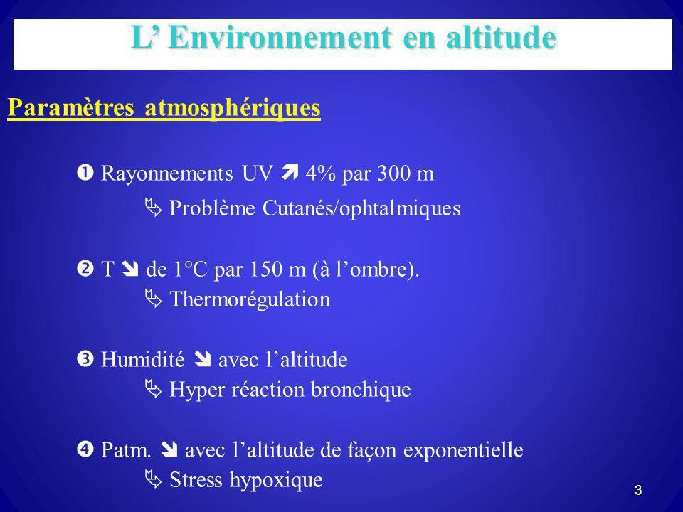 3 L Environnement en altitude Paramètres atmosphériques Rayonnements UV 4% par 300 m Problème Cutanés/ophtalmiques T de 1°C par 150 m (à lombre). Ther