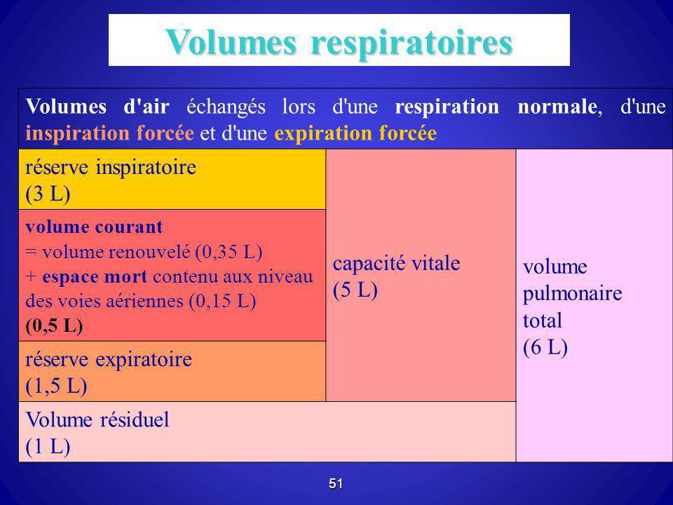 51 Volumes d'air échangés lors d'une respiration normale, d'une inspiration forcée et d'une expiration forcée réserve inspiratoire (3 L) capacité vita