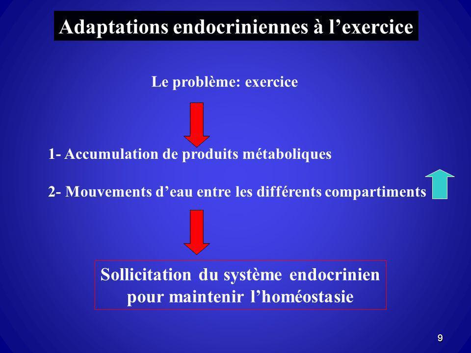 Adaptations endocriniennes à lexercice Le problème: exercice 1- Accumulation de produits métaboliques 2- Mouvements deau entre les différents comparti