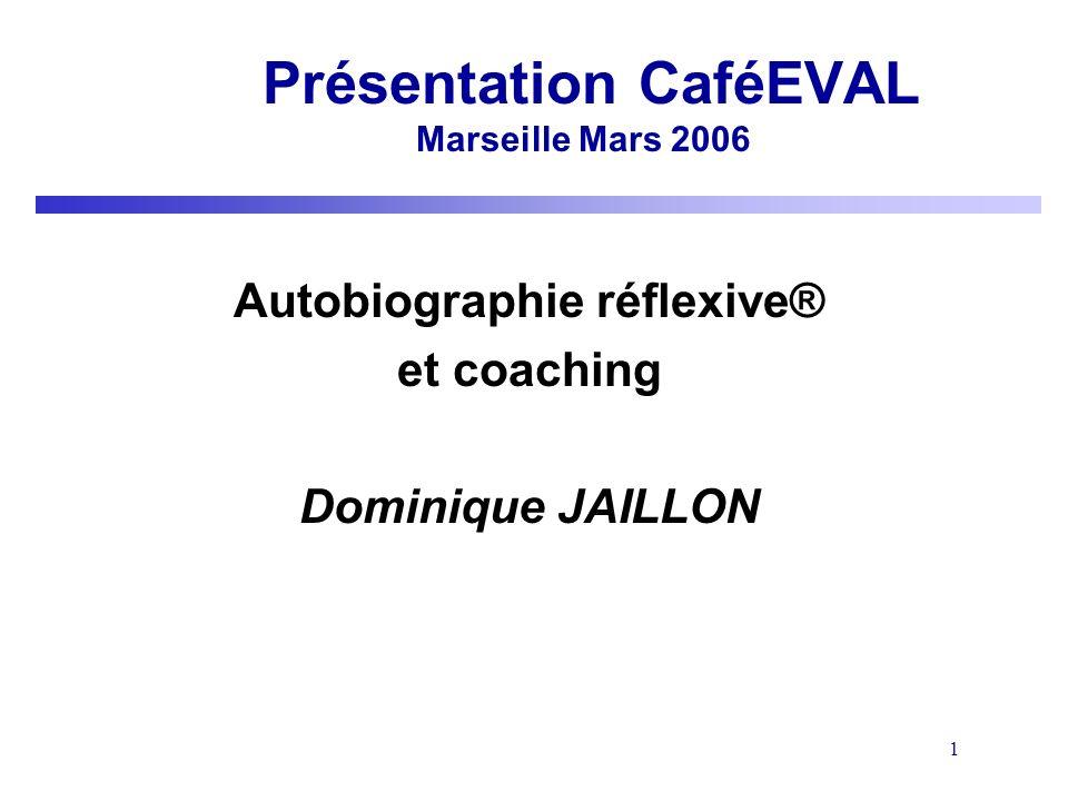 1 Présentation CaféEVAL Marseille Mars 2006 Autobiographie réflexive® et coaching Dominique JAILLON