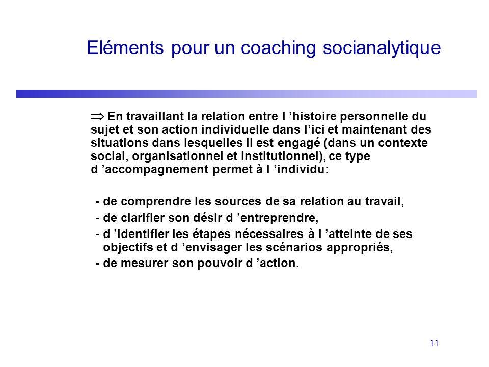 11 Eléments pour un coaching socianalytique En travaillant la relation entre l histoire personnelle du sujet et son action individuelle dans lici et m