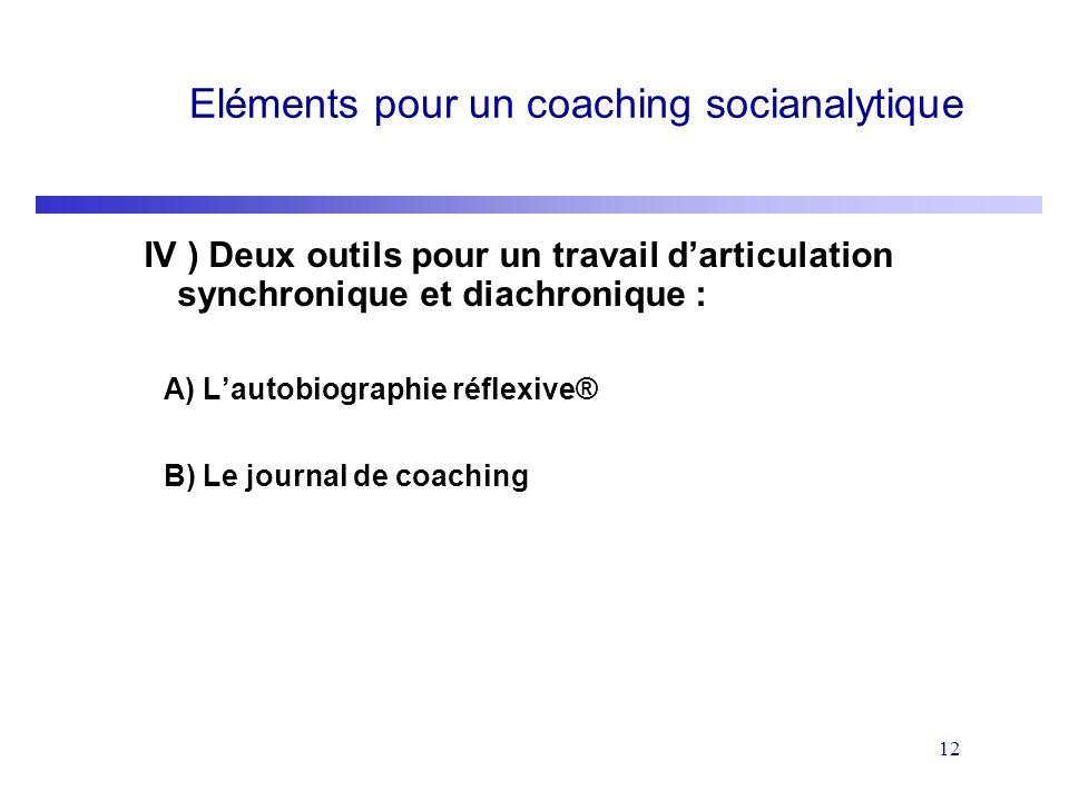 12 Eléments pour un coaching socianalytique IV ) Deux outils pour un travail darticulation synchronique et diachronique : A) Lautobiographie réflexive