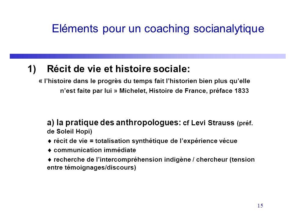 15 Eléments pour un coaching socianalytique 1)Récit de vie et histoire sociale: « lhistoire dans le progrès du temps fait lhistorien bien plus quelle
