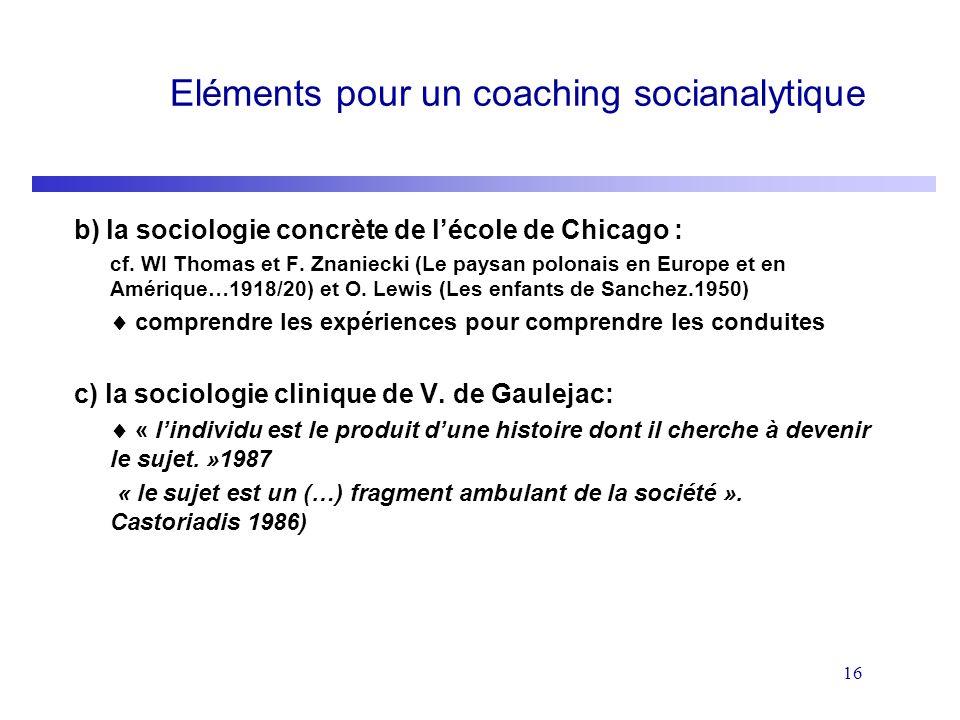 16 Eléments pour un coaching socianalytique b) la sociologie concrète de lécole de Chicago : cf. WI Thomas et F. Znaniecki (Le paysan polonais en Euro