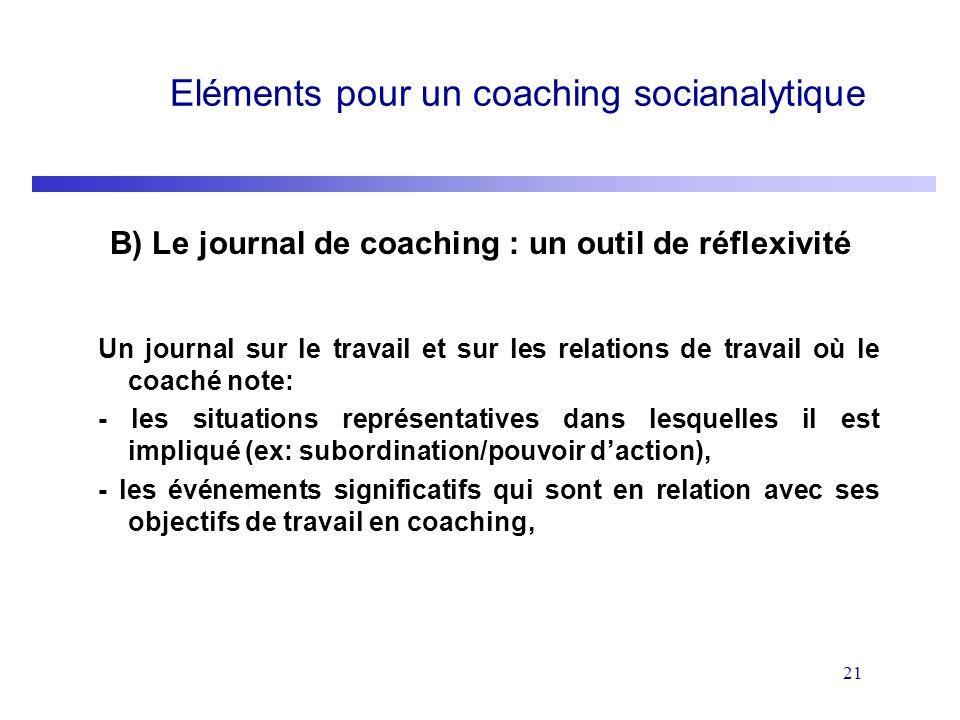 21 Eléments pour un coaching socianalytique B) Le journal de coaching : un outil de réflexivité Un journal sur le travail et sur les relations de trav