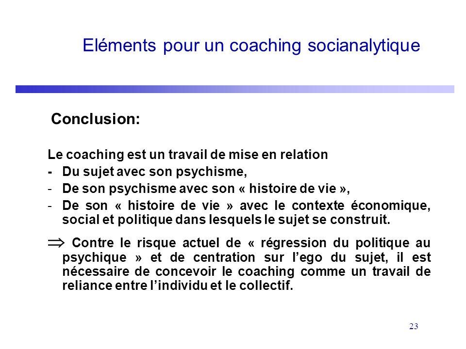 23 Eléments pour un coaching socianalytique Conclusion: Le coaching est un travail de mise en relation -Du sujet avec son psychisme, -De son psychisme