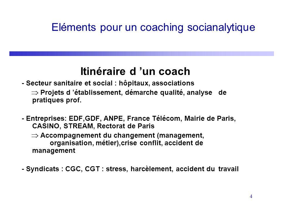 4 Eléments pour un coaching socianalytique Itinéraire d un coach - Secteur sanitaire et social : hôpitaux, associations Projets d établissement, démar