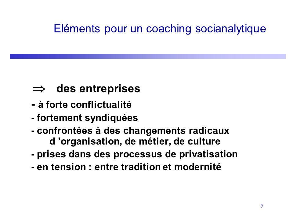 5 Eléments pour un coaching socianalytique des entreprises - à forte conflictualité - fortement syndiquées - confrontées à des changements radicaux d