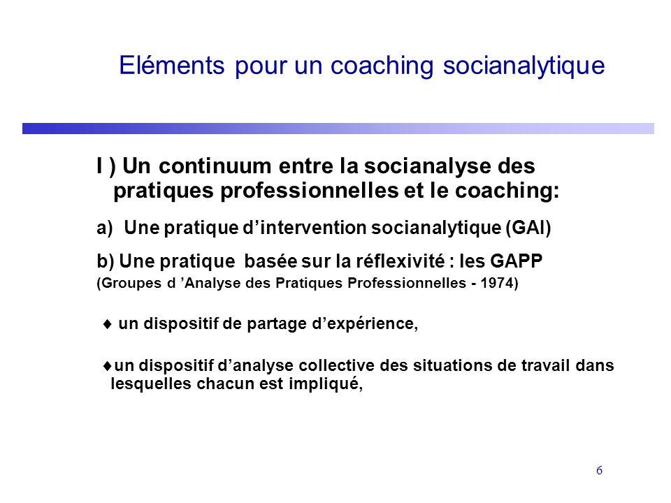 6 Eléments pour un coaching socianalytique I ) Un continuum entre la socianalyse des pratiques professionnelles et le coaching: a) Une pratique dinter