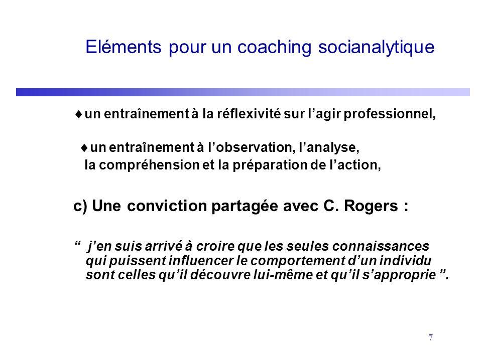 7 Eléments pour un coaching socianalytique un entraînement à la réflexivité sur lagir professionnel, un entraînement à lobservation, lanalyse, la comp