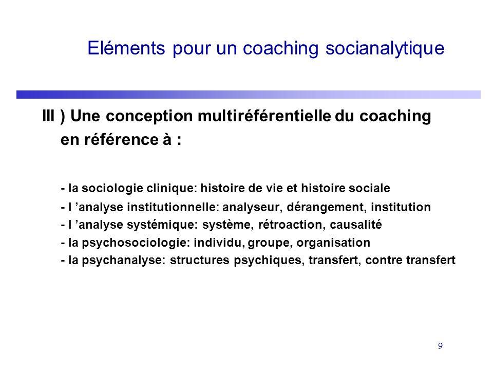 9 Eléments pour un coaching socianalytique III ) Une conception multiréférentielle du coaching en référence à : - la sociologie clinique: histoire de