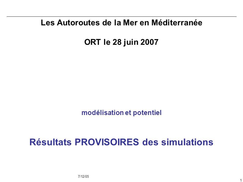 7/12/05 1 Les Autoroutes de la Mer en Méditerranée ORT le 28 juin 2007 modélisation et potentiel Résultats PROVISOIRES des simulations