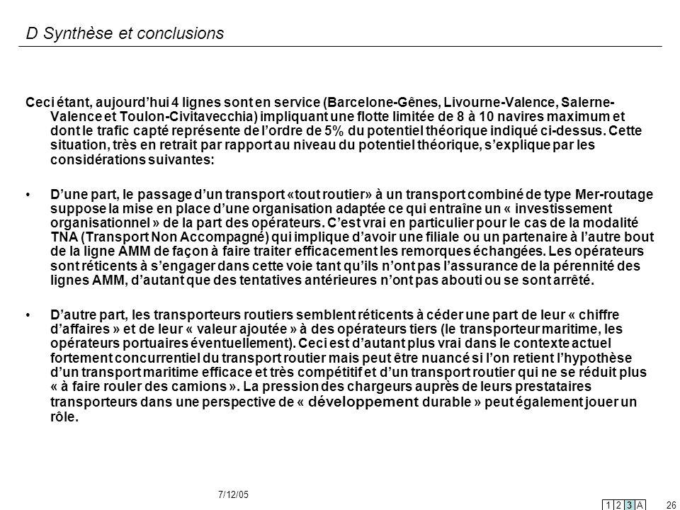 7/12/05 26 D Synthèse et conclusions Ceci étant, aujourdhui 4 lignes sont en service (Barcelone-Gênes, Livourne-Valence, Salerne- Valence et Toulon-Ci