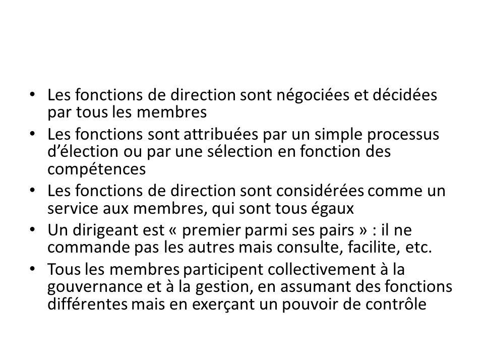 Les fonctions de direction sont négociées et décidées par tous les membres Les fonctions sont attribuées par un simple processus délection ou par une
