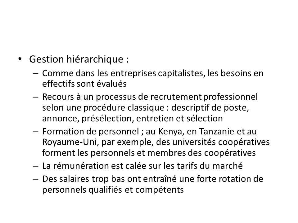 Gestion hiérarchique : – Comme dans les entreprises capitalistes, les besoins en effectifs sont évalués – Recours à un processus de recrutement profes