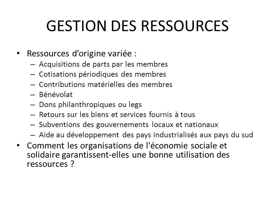 GESTION DES RESSOURCES Ressources dorigine variée : – Acquisitions de parts par les membres – Cotisations périodiques des membres – Contributions maté
