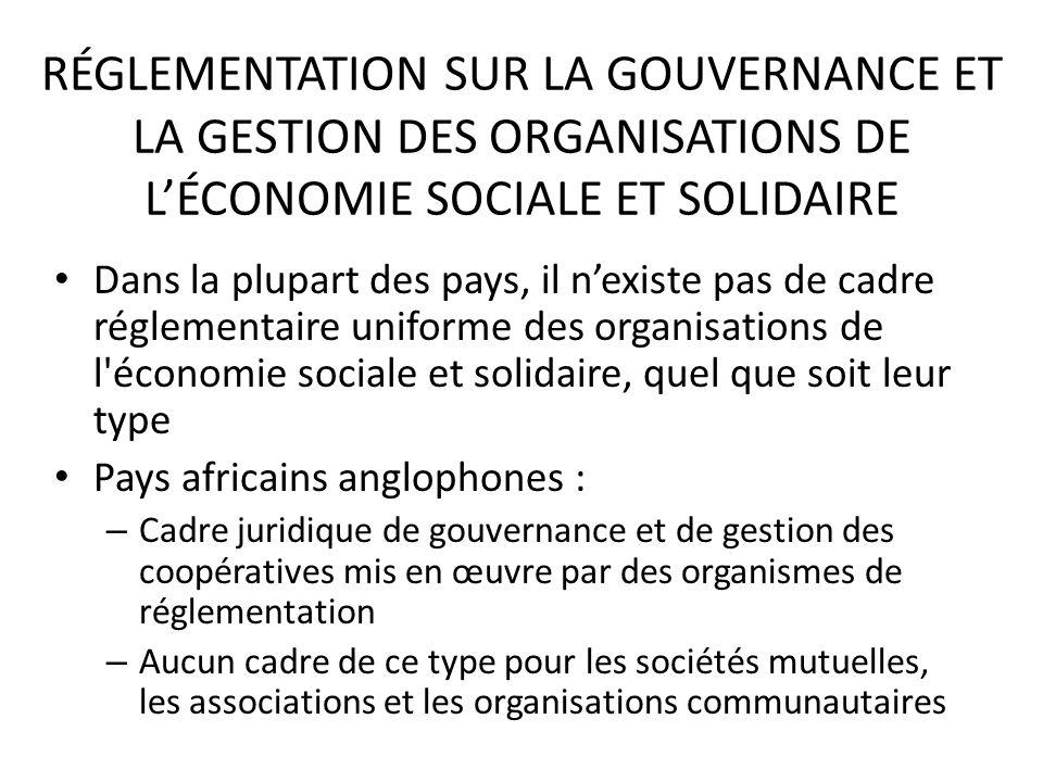 RÉGLEMENTATION SUR LA GOUVERNANCE ET LA GESTION DES ORGANISATIONS DE LÉCONOMIE SOCIALE ET SOLIDAIRE Dans la plupart des pays, il nexiste pas de cadre