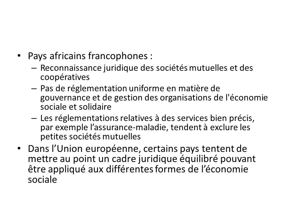 Pays africains francophones : – Reconnaissance juridique des sociétés mutuelles et des coopératives – Pas de réglementation uniforme en matière de gou