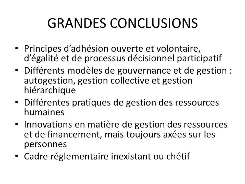 GRANDES CONCLUSIONS Principes dadhésion ouverte et volontaire, dégalité et de processus décisionnel participatif Différents modèles de gouvernance et