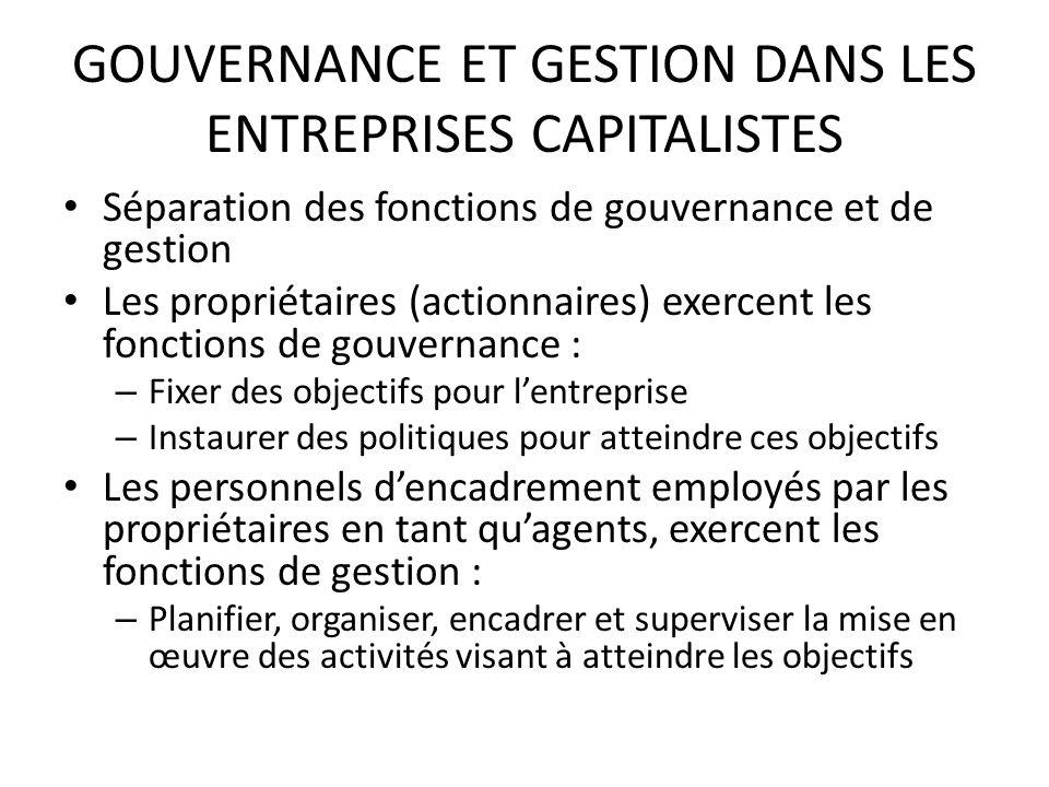 GOUVERNANCE ET GESTION DANS LES ENTREPRISES CAPITALISTES Séparation des fonctions de gouvernance et de gestion Les propriétaires (actionnaires) exerce