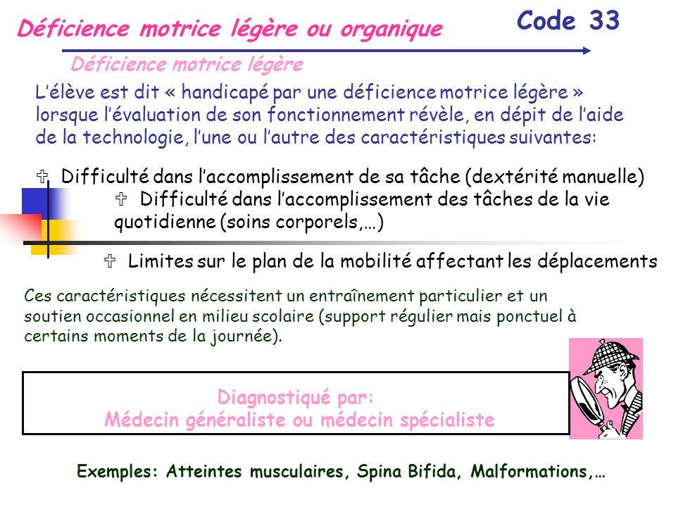 Déficience motrice légère ou organique Code 33 Déficience motrice légère Lélève est dit « handicapé par une déficience motrice légère » lorsque lévalu