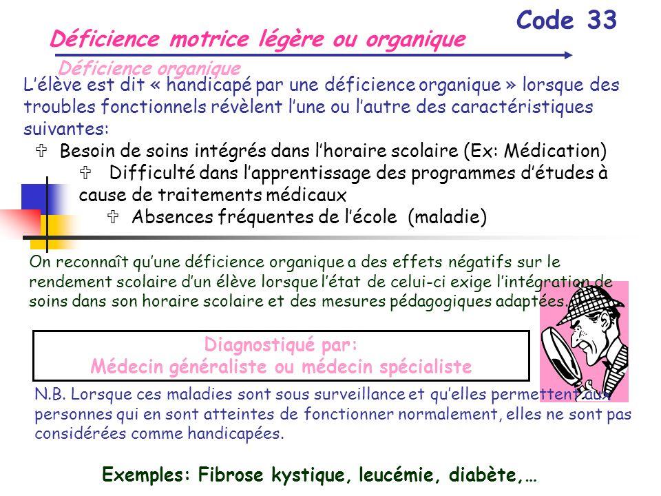 Déficience motrice légère ou organique Code 33 Déficience organique Lélève est dit « handicapé par une déficience organique » lorsque des troubles fon