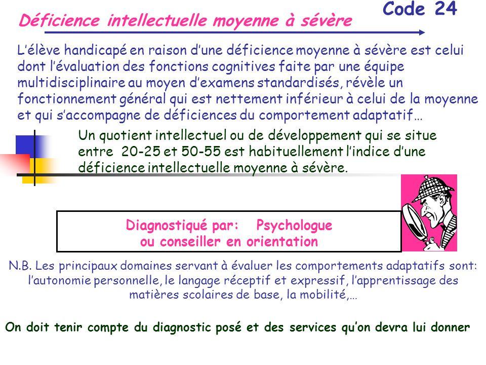 Déficience intellectuelle moyenne à sévère Code 24 Lélève handicapé en raison dune déficience moyenne à sévère est celui dont lévaluation des fonction