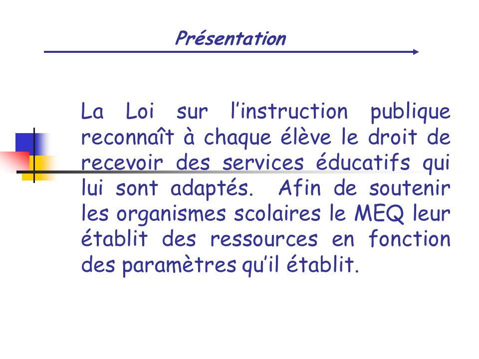 Présentation La Loi sur linstruction publique reconnaît à chaque élève le droit de recevoir des services éducatifs qui lui sont adaptés. Afin de soute