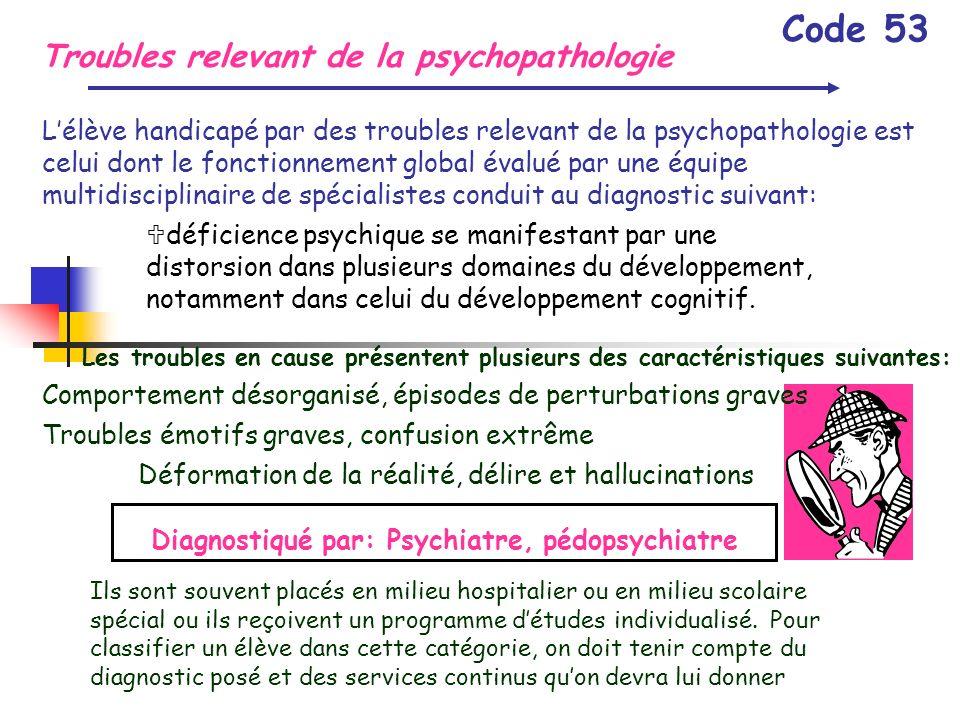 Troubles relevant de la psychopathologie Code 53 Lélève handicapé par des troubles relevant de la psychopathologie est celui dont le fonctionnement gl