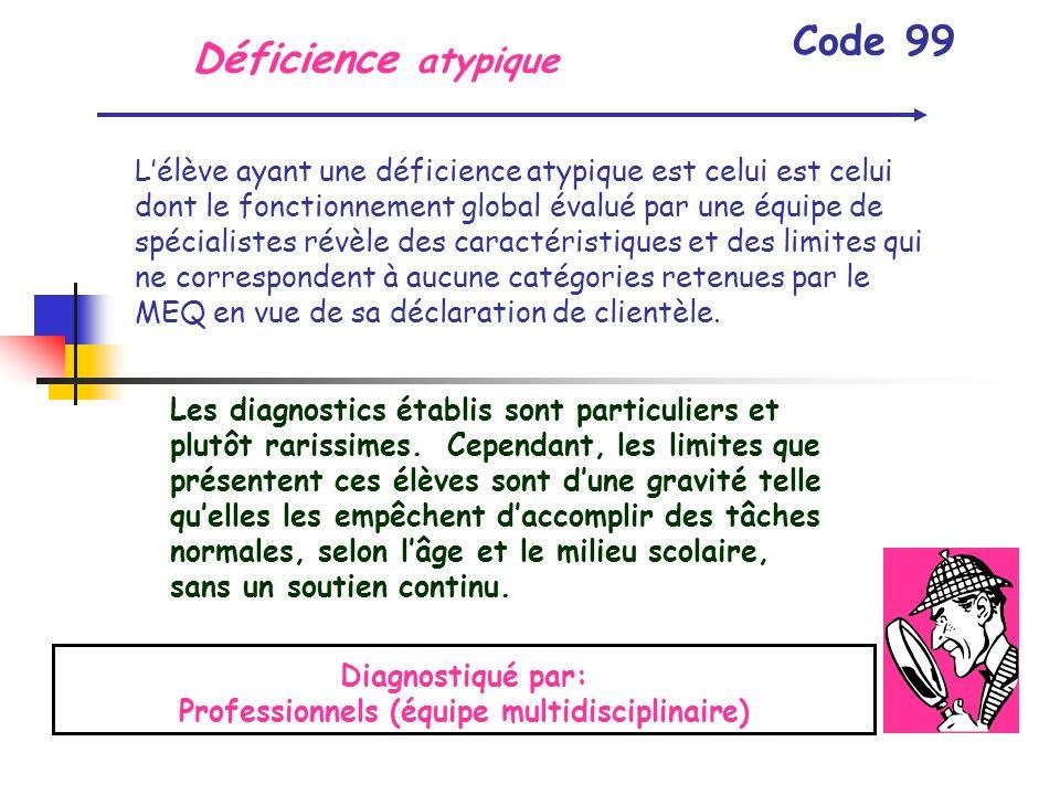 Déficience atypique Code 99 Lélève ayant une déficience atypique est celui est celui dont le fonctionnement global évalué par une équipe de spécialist