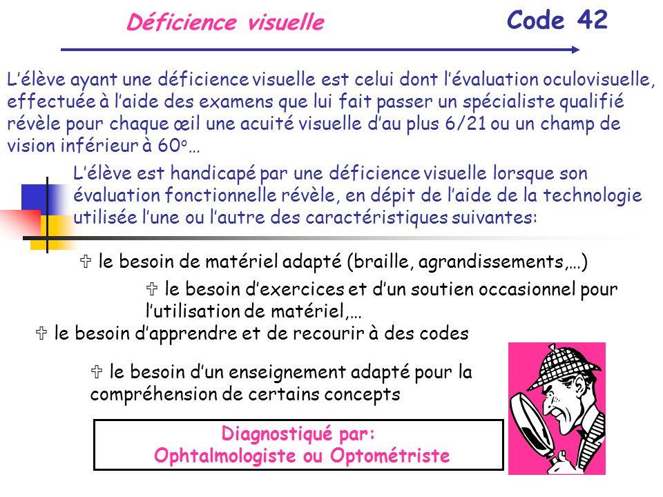 Déficience visuelle Code 42 Lélève ayant une déficience visuelle est celui dont lévaluation oculovisuelle, effectuée à laide des examens que lui fait