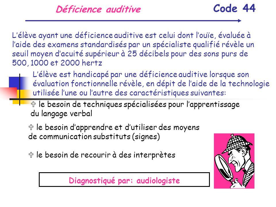 Déficience auditive Code 44 Lélève ayant une déficience auditive est celui dont louïe, évaluée à laide des examens standardisés par un spécialiste qua