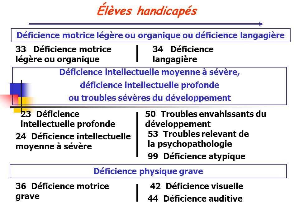Élèves handicapés 33 Déficience motrice légère ou organique 34 Déficience langagière Déficience motrice légère ou organique ou déficience langagière D
