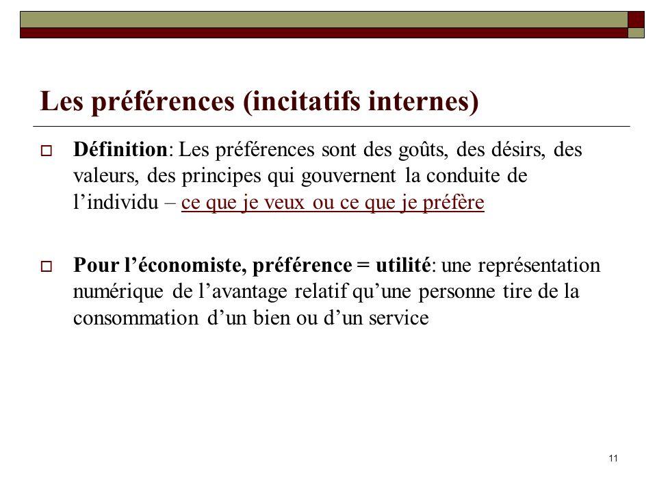 Les préférences (incitatifs internes) Définition: Les préférences sont des goûts, des désirs, des valeurs, des principes qui gouvernent la conduite de