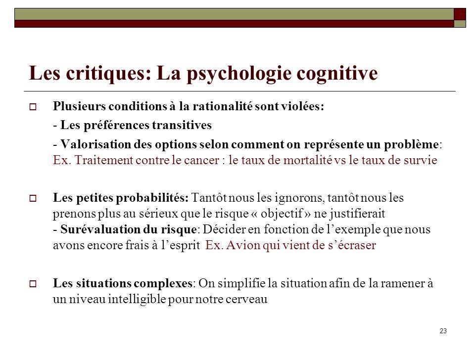 Les critiques: La psychologie cognitive Plusieurs conditions à la rationalité sont violées: - Les préférences transitives - Valorisation des options s