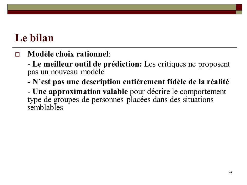 Le bilan Modèle choix rationnel: - Le meilleur outil de prédiction: Les critiques ne proposent pas un nouveau modèle - Nest pas une description entièr
