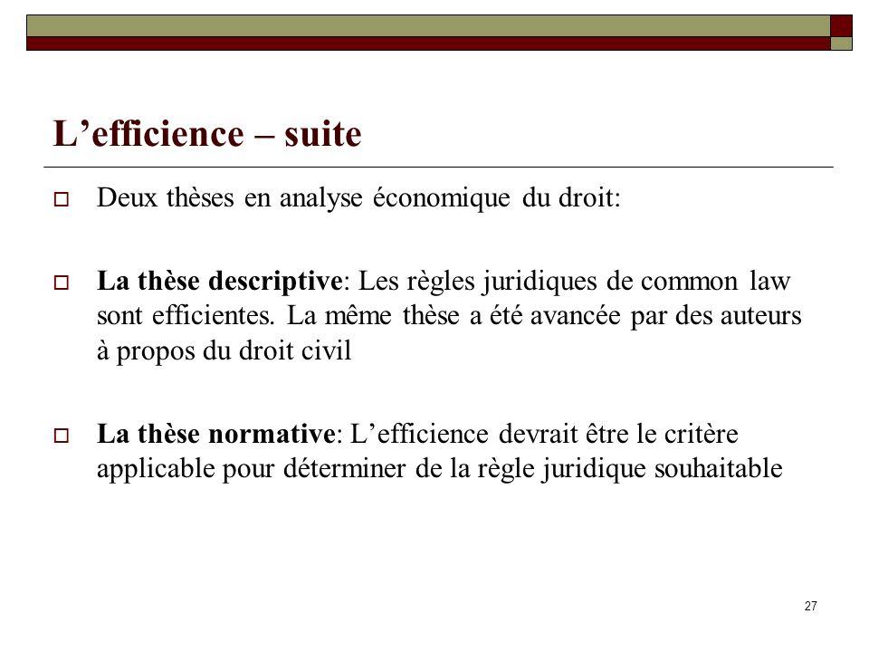 Deux thèses en analyse économique du droit: La thèse descriptive: Les règles juridiques de common law sont efficientes. La même thèse a été avancée pa