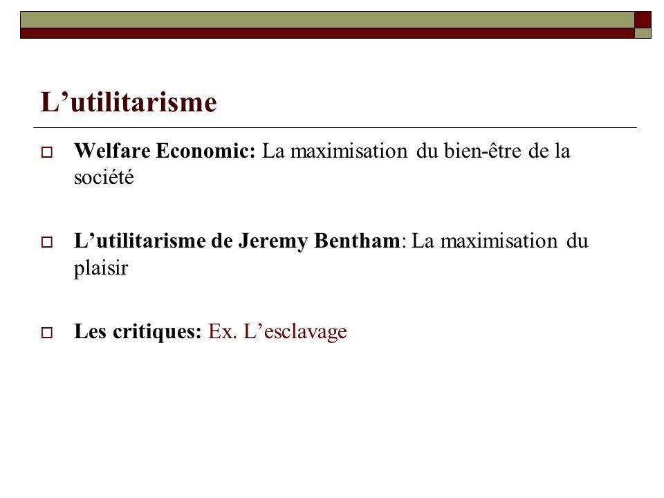 Lutilitarisme Welfare Economic: La maximisation du bien-être de la société Lutilitarisme de Jeremy Bentham: La maximisation du plaisir Les critiques: