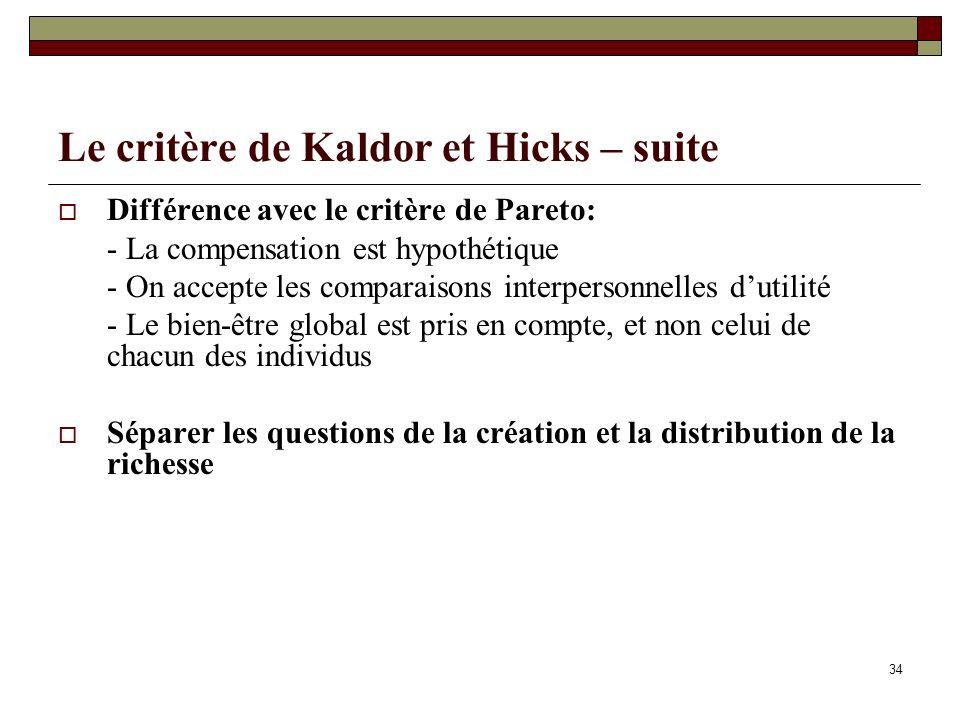 Le critère de Kaldor et Hicks – suite Différence avec le critère de Pareto: - La compensation est hypothétique - On accepte les comparaisons interpers
