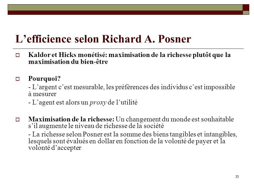 Lefficience selon Richard A. Posner Kaldor et Hicks monétisé: maximisation de la richesse plutôt que la maximisation du bien-être Pourquoi? - Largent