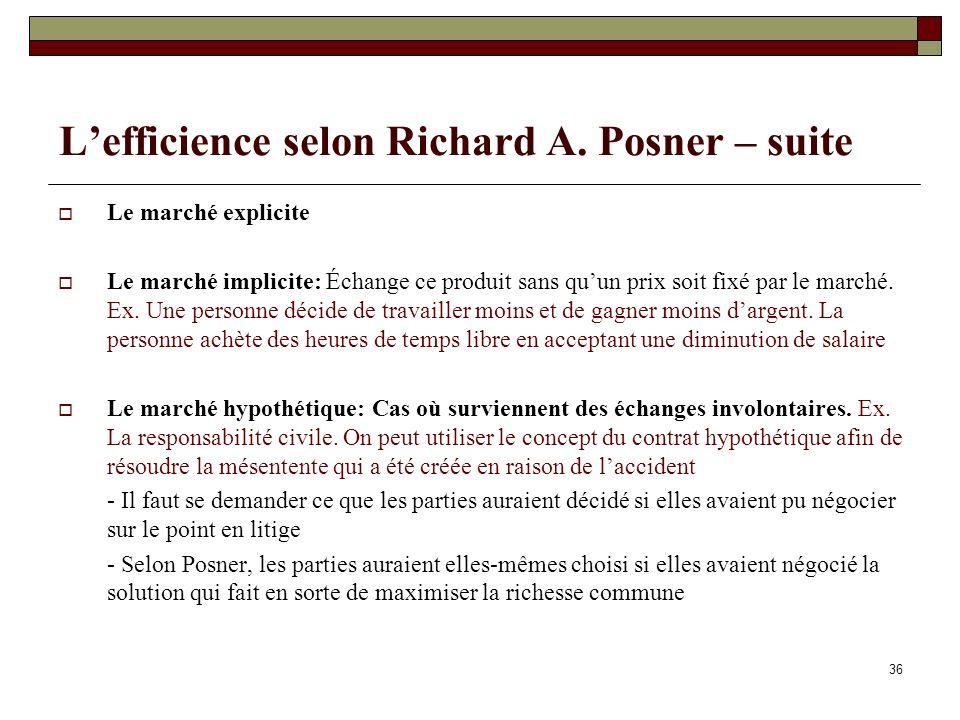 Lefficience selon Richard A. Posner – suite Le marché explicite Le marché implicite: Échange ce produit sans quun prix soit fixé par le marché. Ex. Un