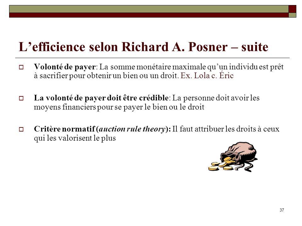 Lefficience selon Richard A. Posner – suite Volonté de payer: La somme monétaire maximale quun individu est prêt à sacrifier pour obtenir un bien ou u