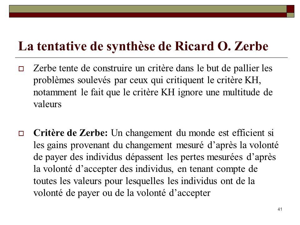 La tentative de synthèse de Ricard O. Zerbe Zerbe tente de construire un critère dans le but de pallier les problèmes soulevés par ceux qui critiquent
