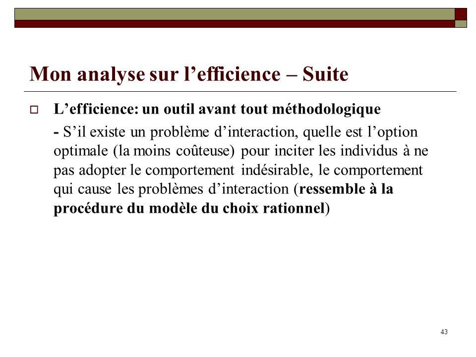 Mon analyse sur lefficience – Suite Lefficience: un outil avant tout méthodologique - Sil existe un problème dinteraction, quelle est loption optimale