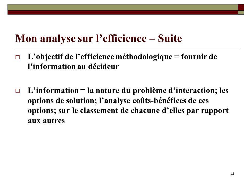 Mon analyse sur lefficience – Suite Lobjectif de lefficience méthodologique = fournir de linformation au décideur Linformation = la nature du problème