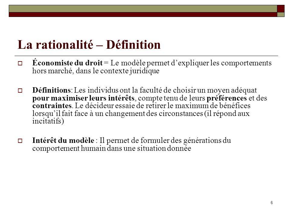 La rationalité – Définition Économiste du droit = Le modèle permet dexpliquer les comportements hors marché, dans le contexte juridique Définitions: L